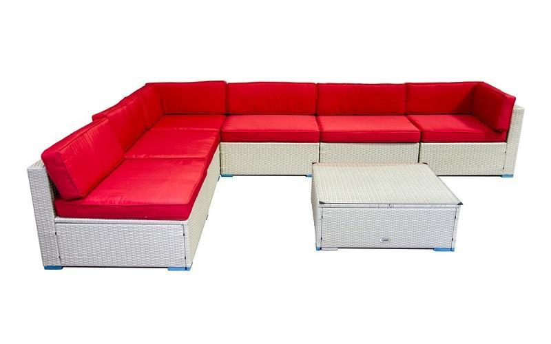 FurnitureMattressDirect- Outdoor Sectional Set - 7 pc (Grey & Red)