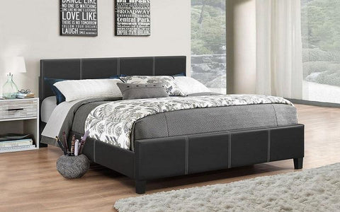 FurnitureMattressDirect- PLATFORM BED BONDED LEATHER WITH ADJUSTABLE HEIGHT - BLACK