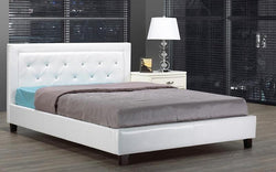 FurnitureMattressDirect- PLATFORM BED BONDED LEATHER WITH JEWELS - WHITE AA
