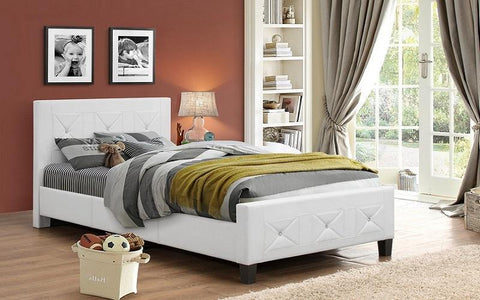 FurnitureMattressDirect- PLATFORM BED BONDED LEATHER WITH JEWELS - WHITE BB