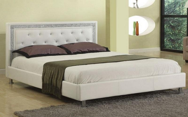 FurnitureMattressDirect- PLATFORM BED BONDED LEATHER WITH JEWELS - WHITE CC