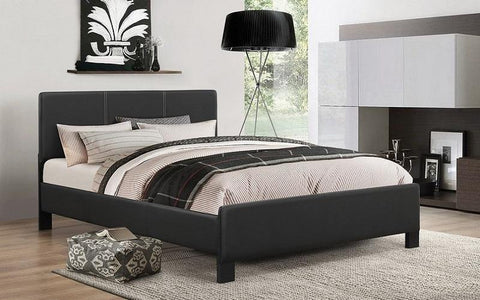 FurnitureMattressDirect- PLATFORM BED WITH BONDED LEATHER - BLACK BB