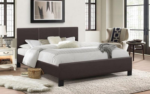 FurnitureMattressDirect- PLATFORM BED WITH BONDED LEATHER - ESPRESSO BB
