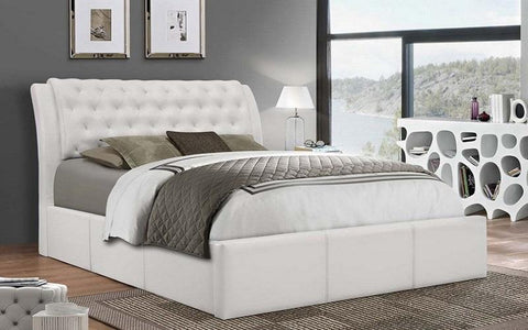 FurnitureMattressDirect- PLATFORM BED WITH BONDED LEATHER - WHITE AA