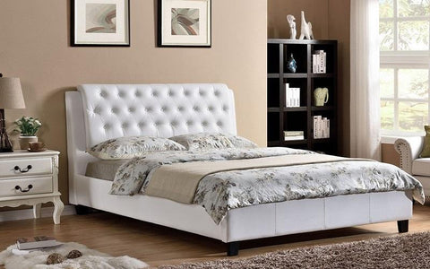 FurnitureMattressDirect- PLATFORM BED WITH BONDED LEATHER - WHITE BB