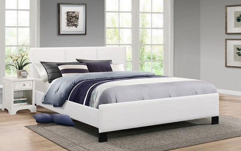 FurnitureMattressDirect- PLATFORM BED WITH BONDED LEATHER - WHITE CC
