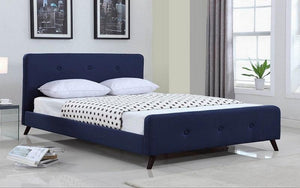 FurnitureMattressDirect- PLATFORM BED WITH BUTTON-TUFTED FABRIC - BLUE AA
