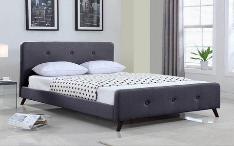 FurnitureMattressDirect- PLATFORM BED WITH BUTTON-TUFTED FABRIC - GREY BB
