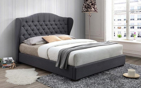 FurnitureMattressDirect- Platform Bed with Button Tufted Linen Style Fabric - Grey A77