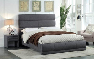 FurnitureMattressDirect- PLATFORM BED WITH LINEN STYLE FABRIC - GREY CC