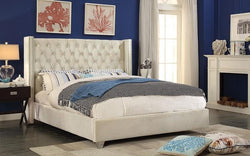 FurnitureMattressDirect- Platform Bed with Velvet Fabric - Creme A-B139