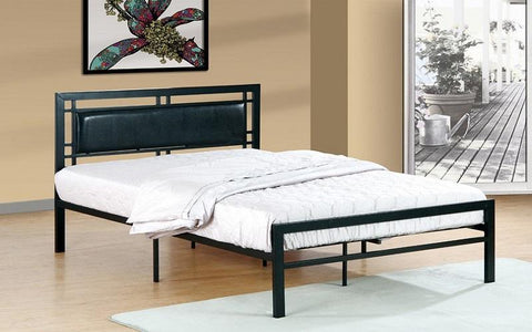 FurnitureMattressDirect- PLATFORM METAL BED WITH LEATHER - BLACK AA