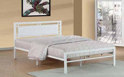 FurnitureMattressDirect- PLATFORM METAL BED WITH LEATHER - WHITE AA