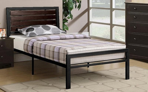 FurnitureMattressDirect- PLATFORM METAL BED WITH WOOD PANELS - BLACK