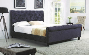 FurnitureMattressDirect- PLATFORM SLEIGH BED WITH VELVET FABRIC - BLACK