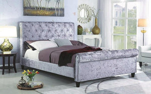 FurnitureMattressDirect- PLATFORM SLEIGH BED WITH VELVET FABRIC - GREY
