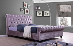 FurnitureMattressDirect- PLATFORM SLEIGH BED WITH VELVET FABRIC - LAVENDER