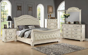 FurnitureMattressDirect- Sleigh Bedroom Set with Tufted Head-Foot Board 8 pc - Antique White LK-BR21