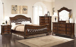 FurnitureMattressDirect- Sleigh Bedroom Set with Tufted Head-Foot Board 8 pc - Dark Walnut LK-BR22