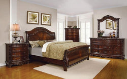 FurnitureMattressDirect- Sleigh Bedroom Set with Wood Detail 8 pc - Dark Cherry LK-BR23
