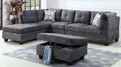 Sectional Sofa Set with Ottoman, Reversible Chaise- In Grey