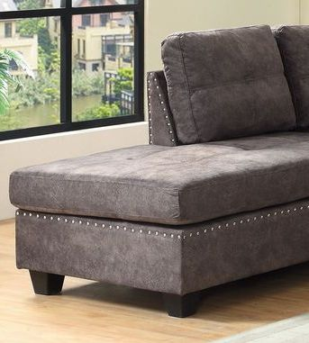 Sectional Sofa Set with Ottoman, Reversible Chaise-In Brown