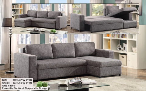 FurnitureMattressDirect- Sectional Sofa bed with Reversible Chaise (Grey)