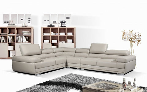 FurnitureMattressDirect- Sectional Sofa with Adjustable Headrest (Grey)
