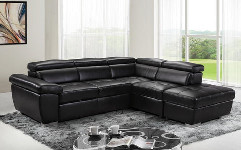 Image of FurnitureMattressDirect- Sectional Sofa with Non-Reversible Chaise (Black)01
