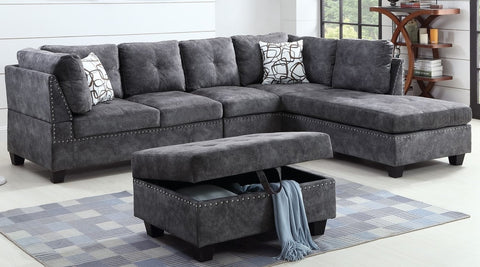 Image of Sectional Sofa Set with Ottoman, Reversible Chaise- In Grey