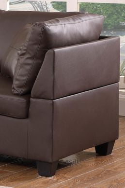 Image of Leather Sectional Set With Chaise and Ottoman - Chocolate