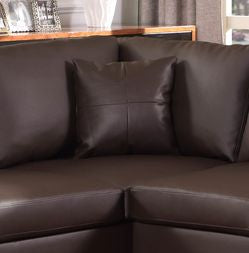 LEATHER SECTIONAL SET WITH CHAISE AND OTTOMAN - CHOCOLATE