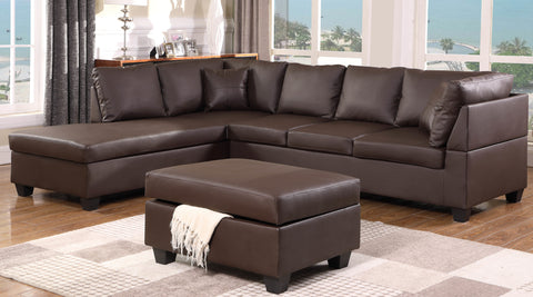 FURNITUREMATTRESSDIRECT-Leather Sectional set with Chaise and Ottoman - Chocolate