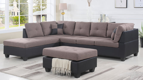 Image of FurnitureMattressDirect- FABRIC SECTIONAL SET WITH CHAISE AND OTTOMAN - TAUPE | BLACK S-SL100