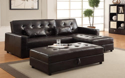 FurnitureMattressDirect- Sectional with Klik klak Sofa, Chaise and Storage ottoman