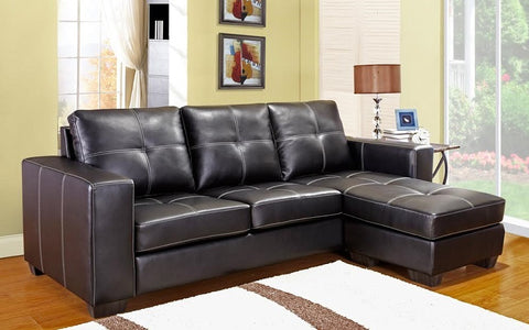 FurnitureMattressDirect- Sectional with Reversible Chaise (Black)