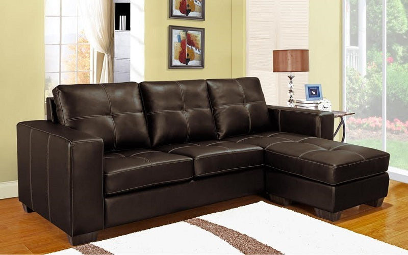 FurnitureMattressDirect- Sectional with Reversible Chaise (Brown)