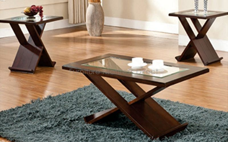 FurnitureMattressDirect- Solid Wood Coffee Table set with beveled glass inserts