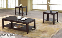 FurnitureMattressDirect- Solid Wood Coffee Table set with shelf