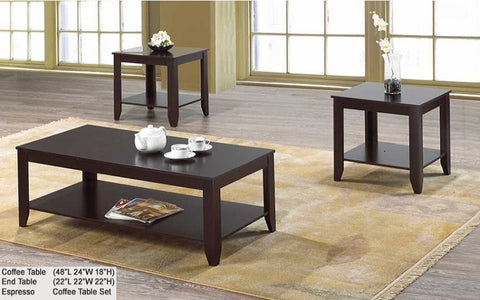 FurnitureMattressDirect- COFFEE TABLE SET WITH SHELF - 3 PC - ESPRESSO- A-CT103