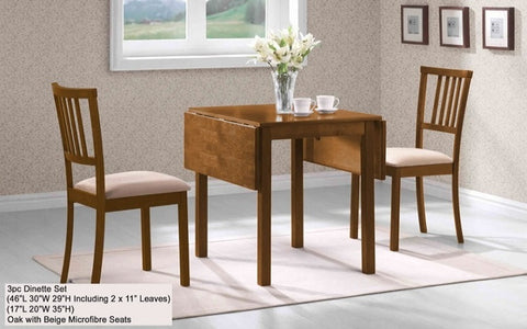 "FurnitureMattressDirect- Solid Wood Kitchen Set - 3 pc - Oak with Beige Microfibre with 11"" Leafs Both Sides A-KS131"