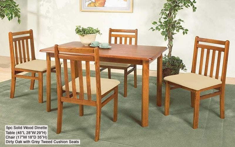 FurnitureMattressDirect- Solid Wood Kitchen Set - 5 pc (Dirty Oak with Grey Tweed Seats)