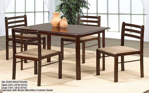 FurnitureMattressDirect- Solid Wood Kitchen Set - 5 pc (Espresso with Brown Microfibre Seats)