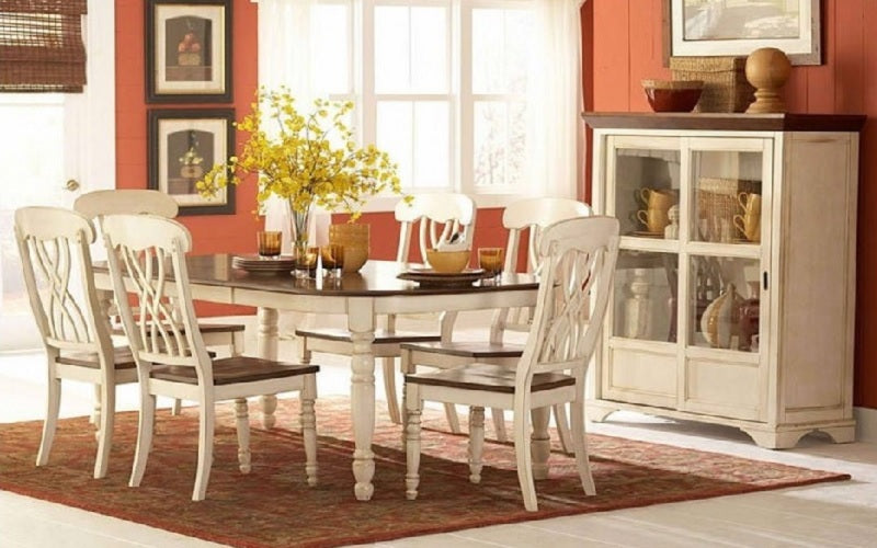 FurnitureMattressDirect- Solid Wood Kitchen Set - 7 pc - Antique White with Antique White Chairs A-KS128