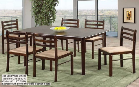 FurnitureMattressDirect- Solid Wood Kitchen Set - 7 pc (Espresso with Brown Microfibre Seats)