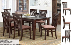 FurnitureMattressDirect- Solid Wood Kitchen Set - 7 pc (Espresso with Fabric Seats)