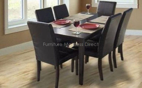 Image of FurnitureMattressDirect- Solid Wood Kitchen Set with 6 chairs