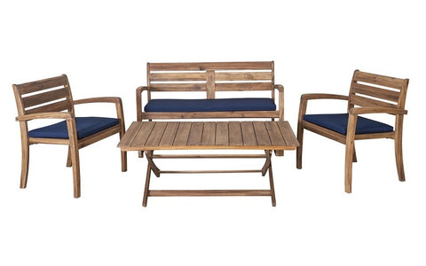 Image of FurnitureMattressDirect- Solid Wood Outdoor Set with Centre Table (Natural & Beige)01