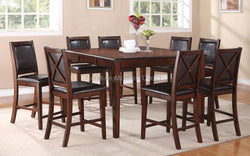 FurnitureMattressDirect- Solid Wood Pub Set and 8 Pub chairs with 18 leaf