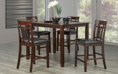 FurnitureMattressDirect- Solid Wood Pub Set with 4 chairs (Espresso)